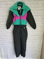 "Vintage Club Attivo Ski Suit Size 12 Large Black Teal 30"" Inseam 42"" Chest"
