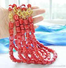 "z5975 wholesale 5pcs 18"" 16mm original baroque cylinder red coral necklace"