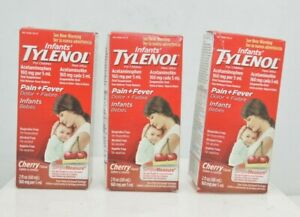 (3 Pack) Infants' Tylenol Pain+Fever Cherry Flavor 2 Oz Each