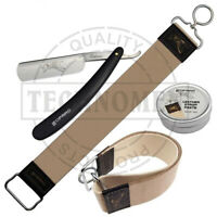 SALON BARBER STRAIGHT CUT THROAT WET SHAVING RAZOR SHAVER LEATHER STROP & PASTE