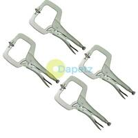 4pc Mini Welding C Clamps Mole Vice Grip Locking Pliers Sheet Metal Pliers