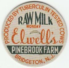 MILK BOTTLE CAP. ELWELL'S PINE BROOK FARM. BRIGETON, NJ. DAIRY. REPRODUCTION
