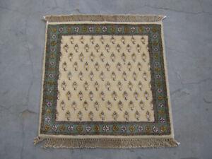 Wool Silk Carpet Hand Knotted Beige Colour Small Rugs 2x2 Design Door Mat