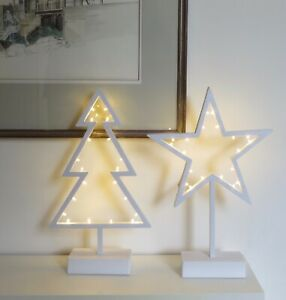 Xmas Plastic White tree and star   Indoor Xmas table decoration