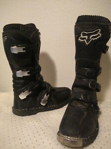 FOX Racing Tracker Race Boots Black Dirtbike Off Road MX Motocross Men Size 7