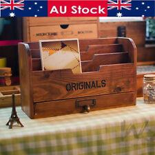 Wood Letter Rack Drawer Keys Bills Mail Photos Holder Rustic Desk Organiser AU ❤