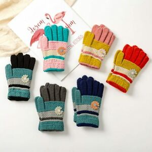 Knitted Warm Gloves With Full Fingers With Flowers For Children 4-10 Years Old