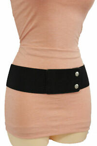 Women Casual Belt Hip High Waist Faux Suede Leather Wide Black Elastic Strap S M
