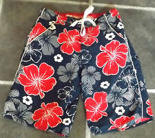 "MENS BOYS XS ACTIVE LONG BLUE RED WHITE FLORAL SWIMMING SHORTS WAIST 30"" 76cm"