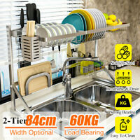 84cm Over Sink Dish Drying Rack Stainless  Drainer Kitchen Cutlery Holder Shelf