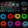 4/5M Led Flexible EL Wire Neon Glow Lights Strip + 3V/12V Controller Car Decor