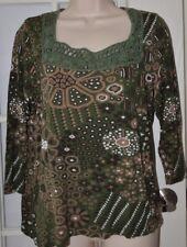 Chico's Crochet Lace Teim Neck Top Size 2