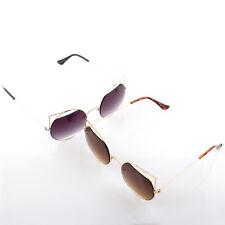 Womens Cute Sleek Cat Eye Slim Metal Frame Sunglasses