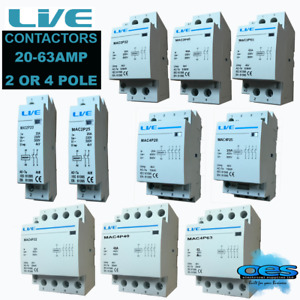CONTACTOR 2 POLE 4 POLE 20, 25, 32, 40 OR 63 AMP AC NORMAL OPEN DIN RAIL MOUNT