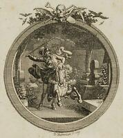 CHODOWIECKI (1726-1801). Wilhelm sprengt auf den Kirchhof; Druckgraphik 1