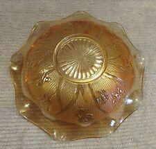 """Jeannette Amber Carnival Glass Iris Herringbone 12"""" Scalloped Edge Bowl FREE S/H"""