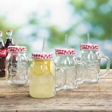 Gibson Coca-Cola Country Classic 20 oz. Glass Mason Jar with Lid and Straw