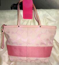 EUC - COACH Pink Signature Stripe Tote Shoulder Bag Purse Handbag #F13548