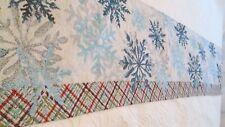Tapestry Christmas Table Runner Blues White Snowflakes 12 1/2 x 64 Glitter