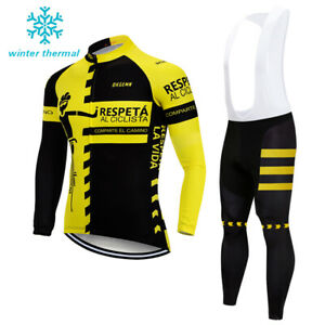 Bicycle Men Winter Cycling Fleece Jersey Bike Riding Thermal Bib Tight Pants Set