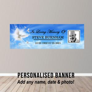 Personalised Memorial RIP In Loving Memory Poster Banner Funeral Wake