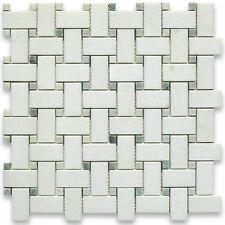 Thassos White Greek Marble Basketweave Mosaic Tile Green Dots 1x2 Honed