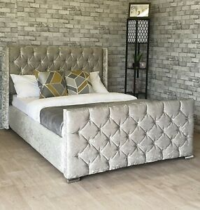 Luxury Crushed Velvet Wing Bed Frame Upholstered Fabric - Free Delivery