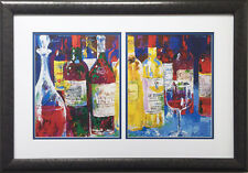 "LeRoy Neiman ""Bordeaux Still Life - Le Bunker"" Custom FRAMED Art Print GOLF WINE"