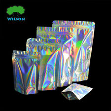 Holographic Laser Zip lock Stand Up Pouch Reusable Cosmetic Bag Mylar New100 PCS