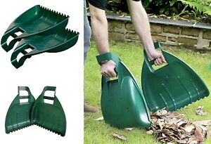 2x Leaf Grabs Grabber Hand Held Collector Gather Leaves Cleaning Garden Scoops