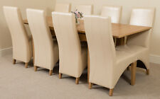 Richmond Medium Extending Solid Oak Dining Table and 6 Ivory Leather Chairs