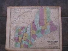 1843 Original Map of New Hampshire, Vermont, Maine