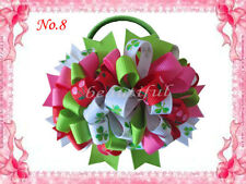 """10 BLESSING Good Girl Hair Accessories 4.5"""" Loopy Puffs Fireworks Bow Elastic"""