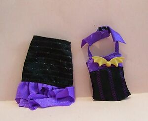 New MATTEL GENUINE MONSTER HIGH GIRL PURPLE & BLACK BAT 2 PIECE DRESS CLOTHES