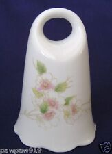 """Toscany White Ceramic Bell Finger Hole Sticker Japan Pink Flowers 5"""" Tall"""