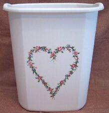 HAND PAINTED WASTE PAPER BASKET/HEART/FLOWERS/NEW BY MB