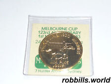 * MELBOURNE CUP 123rd ANNIVERSARY 24 CARAT GOLD PLATED MEDAL  *MINT *