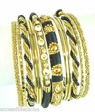 Chamak by Priya Kakkar Set of 12 Gold-tone Metal Bangle Bracelets Black/ White