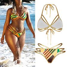 Women Triangle Bikini Set Push Up Padded Bra V Thong Beachwear Swimsuit Swimwear