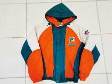 Vintage STARTER NFL Miami Dolphins Turquoise Orange Puffer Jacket Mens M Medium