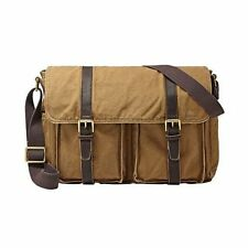 New Fossil Estate Casual EW Messenger Shoulder Bag MBG9043250 Canvas Twill Khaki