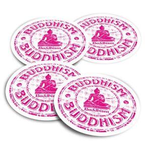 4x Round Stickers 10 cm - Pink Buddhism God Meditation Monk  #5767