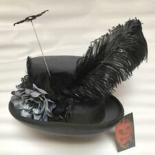 Steampunk Gothic Grey Woolen With Flower Feather And Hat Pin 60 Xl