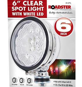 """2X 6"""" 12V Bright White LED Chrome Car Van Truck Spotlights Spot Fog Light Lamps"""