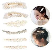 6Pc Women Pearl Hair Clip Snap Barrette Stick Hairpin Bobby Pin Hair Accessories