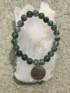 Moss Agate Stone Bracelet Every Journey Starts with One Step Charm 8MM 8 IN