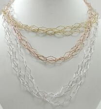 Sterling Silver Rose Yellow Gold Plated Diamond Shape Link Set of 9 Chains
