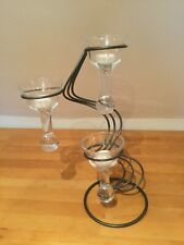Beautiful Handmade wrought iron & 3 glass cup candle tealight stand holder
