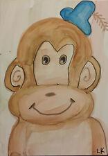 ACEO original monkey blue hat painting by Lynne Kohler