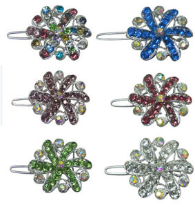 Pair of Small Medallion Barrettes Snap Hair Clip for Toddlers Young Girls 1719-2